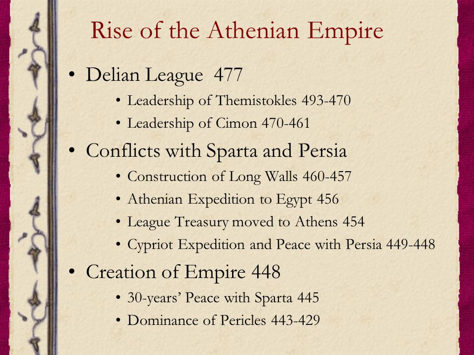 Rise of the Athenian Empire Delian League 477 Leadership of Themistokles 493-470 Leadership of Cimon 470-461 Conflicts with Sparta and Persia Construction of Long Walls 460-457 Athenian Expedition to Egypt 456 League Treasury moved to Athens 454 Cypriot Expedition and Peace with Persia 449-448 Creation of Empire 448 30-years' Peace with Sparta 445 Dominance of Pericles 443-429