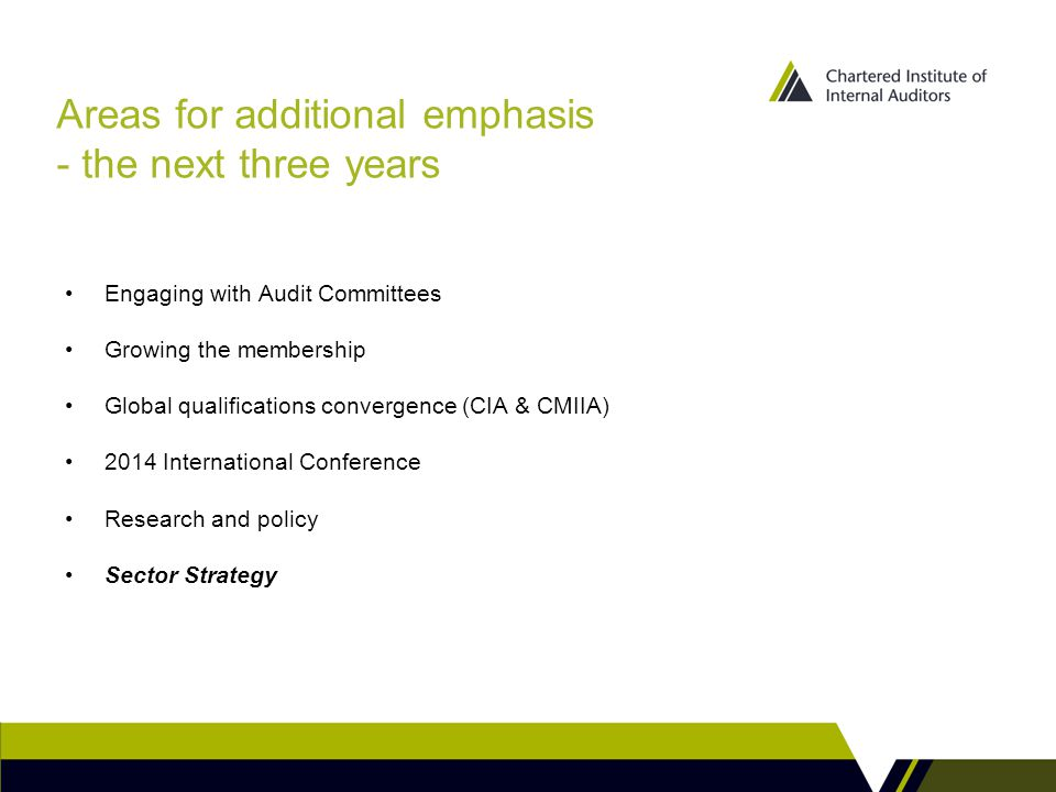 Areas for additional emphasis - the next three years Engaging with Audit Committees Growing the membership Global qualifications convergence (CIA & CMIIA) 2014 International Conference Research and policy Sector Strategy