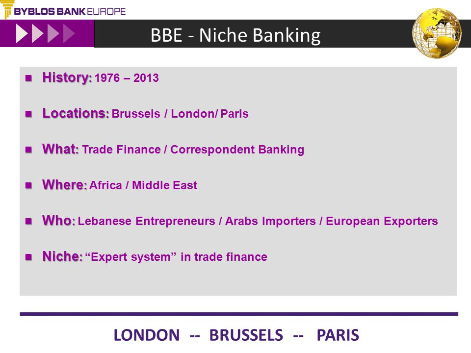 BBE - Niche Banking History : History : 1976 – 2013 Locations : Locations : Brussels / London/ Paris What : What : Trade Finance / Correspondent Banki