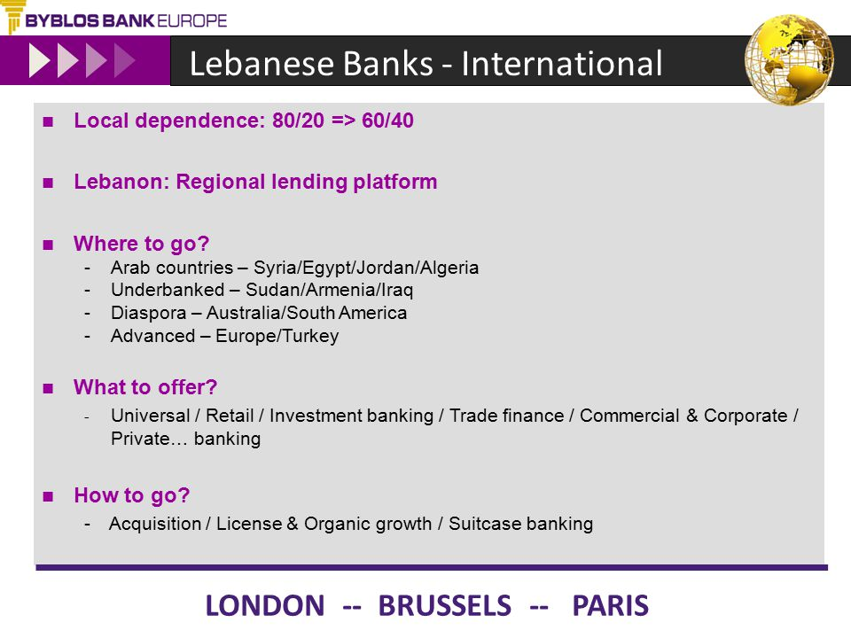 Lebanese Banks - International Local dependence: 80/20 => 60/40 Lebanon: Regional lending platform Where to go? -Arab countries – Syria/Egypt/Jordan/A