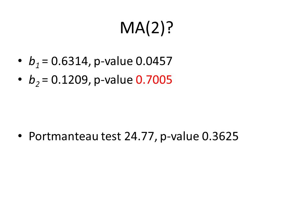 MA(2)? b 1 = 0.6314, p-value 0.0457 b 2 = 0.1209, p-value 0.7005 Portmanteau test 24.77, p-value 0.3625