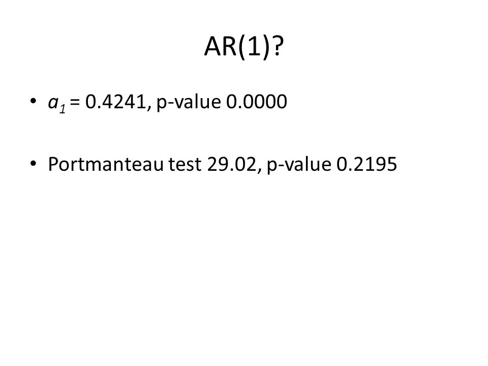 AR(1)? a 1 = 0.4241, p-value 0.0000 Portmanteau test 29.02, p-value 0.2195