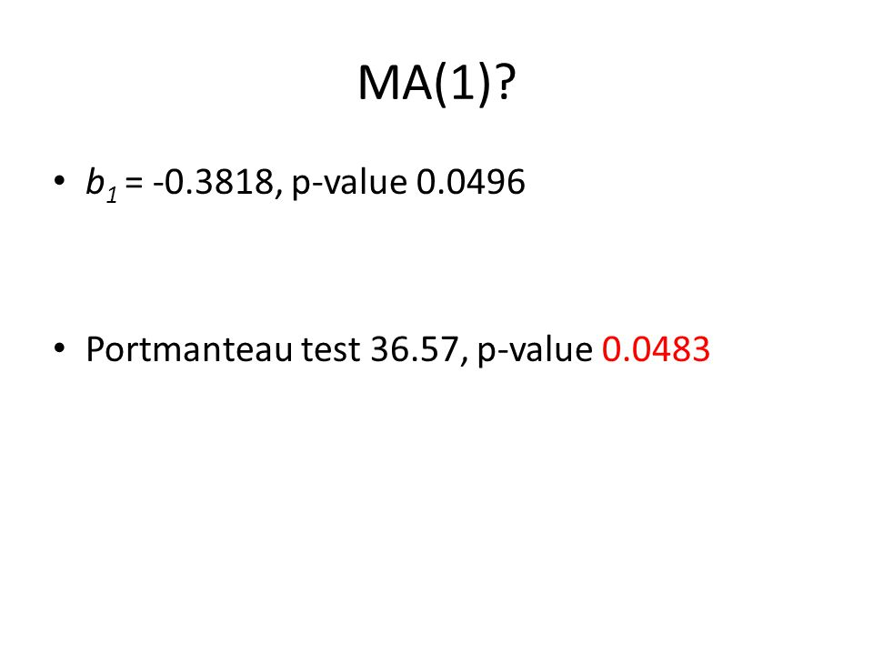 MA(1)? b 1 = -0.3818, p-value 0.0496 Portmanteau test 36.57, p-value 0.0483