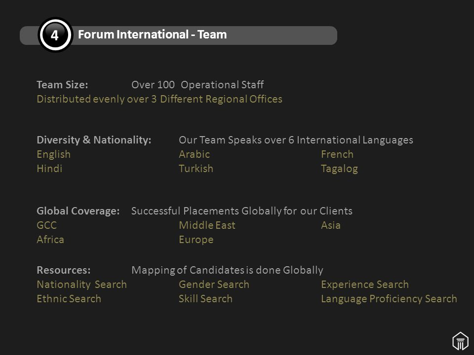 Diversity & Nationality: Our Team Speaks over 6 International Languages EnglishArabicFrench HindiTurkishTagalog Team Size:Over 100 Operational Staff Distributed evenly over 3 Different Regional Offices Global Coverage: Successful Placements Globally for our Clients GCC Middle East Asia AfricaEurope Resources: Mapping of Candidates is done Globally Nationality SearchGender SearchExperience Search Ethnic SearchSkill Search Language Proficiency Search 4 Forum International - Team