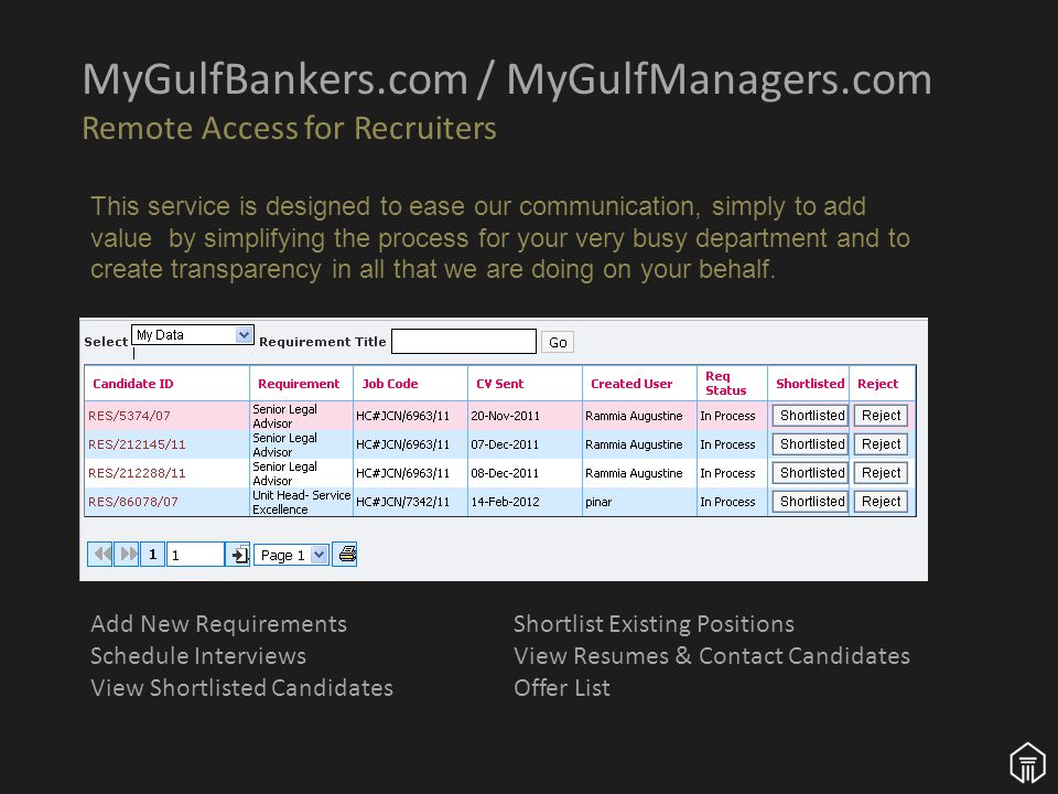 MyGulfBankers.com / MyGulfManagers.com Remote Access for Recruiters This service is designed to ease our communication, simply to add value by simplifying the process for your very busy department and to create transparency in all that we are doing on your behalf.