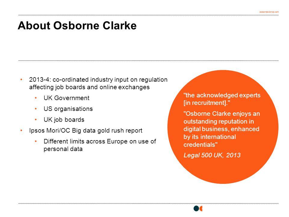 osborneclarke.com 2 About Osborne Clarke
