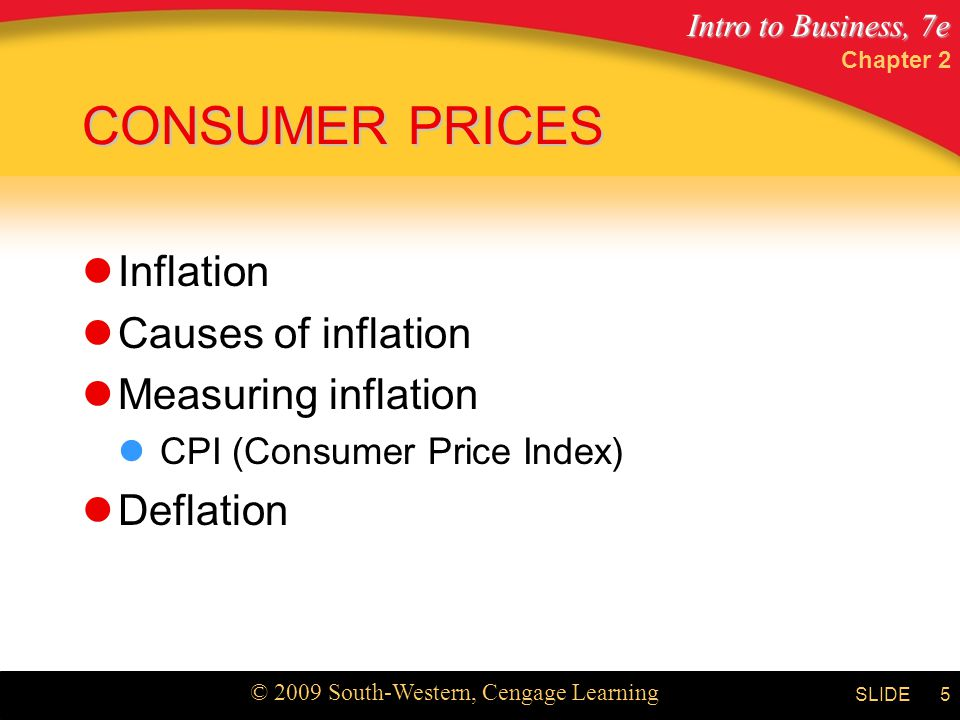 Intro to Business, 7e © 2009 South-Western, Cengage Learning SLIDE Chapter 2 6 What are the main causes of inflation.