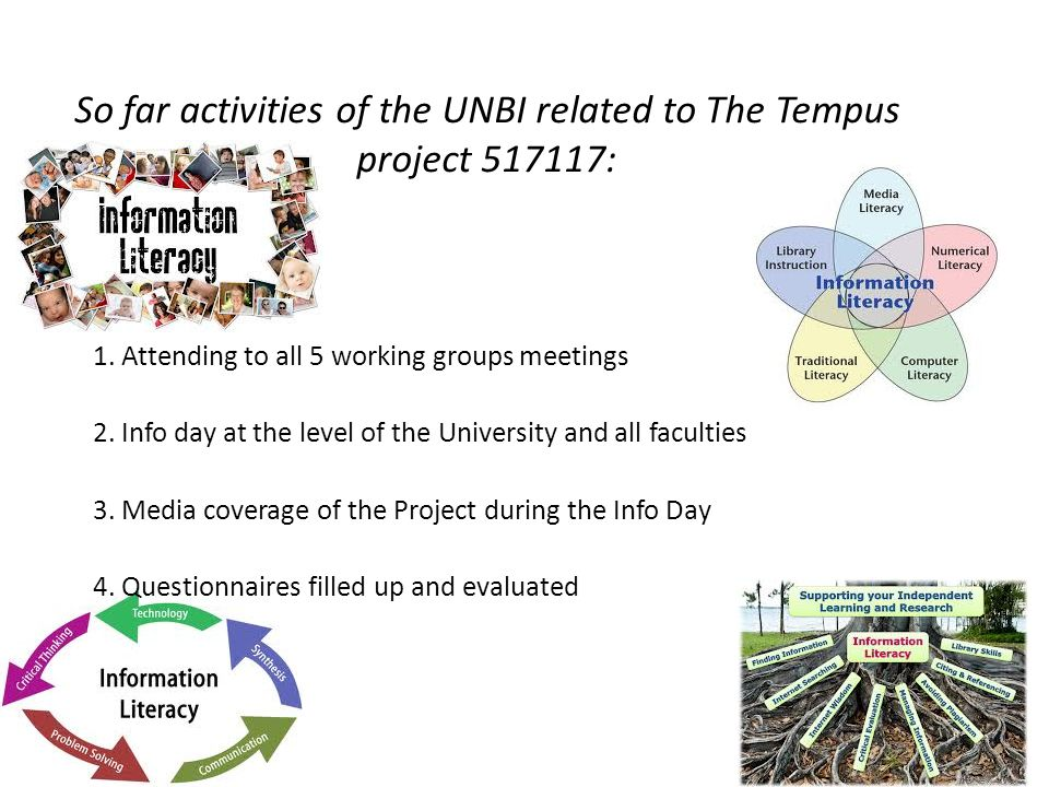So far activities of the UNBI related to The Tempus project 517117: 1.