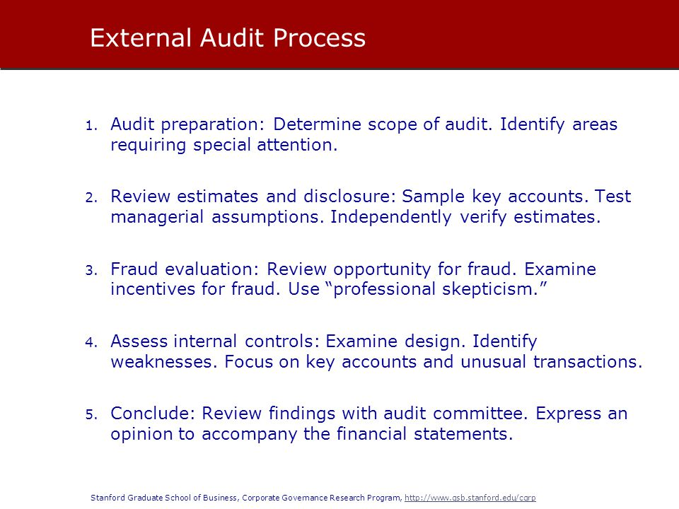 Stanford Graduate School of Business, Corporate Governance Research Program, http://www.gsb.stanford.edu/cgrphttp://www.gsb.stanford.edu/cgrp 1. Audit