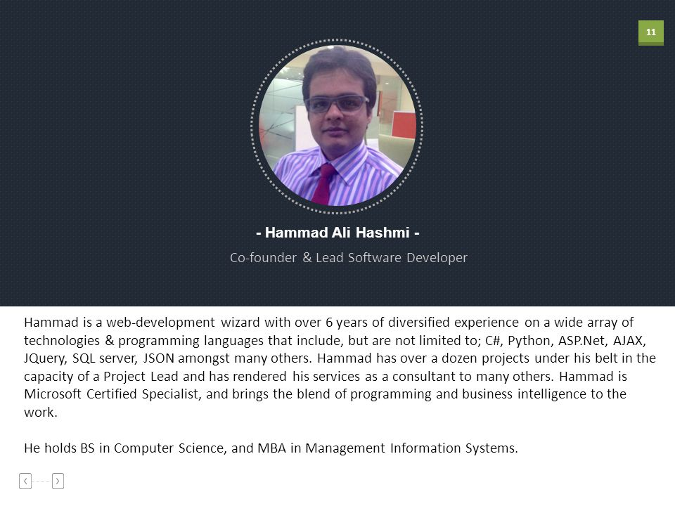 11 - Hammad Ali Hashmi - Co-founder & Lead Software Developer Hammad is a web-development wizard with over 6 years of diversified experience on a wide