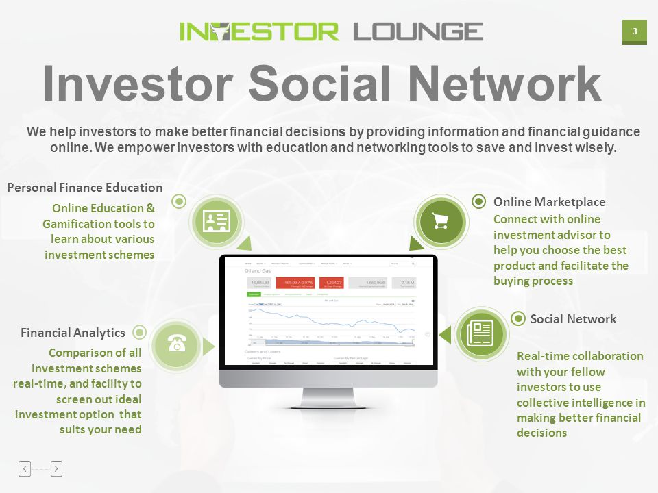 3 Investor Social Network We help investors to make better financial decisions by providing information and financial guidance online. We empower inve