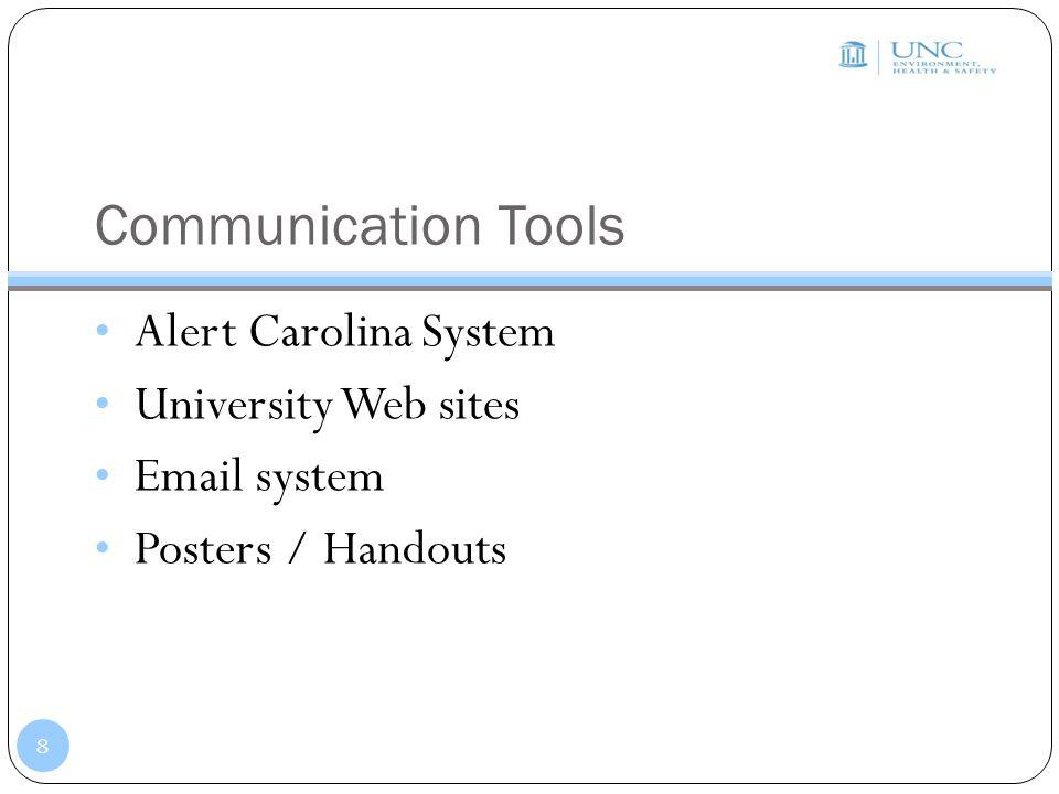 Communication Tools Alert Carolina System University Web sites Email system Posters / Handouts 8