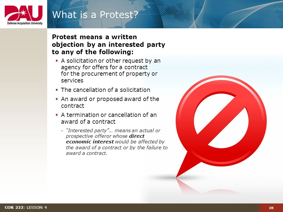 28 COR 222: LESSON 4 What is a Protest.