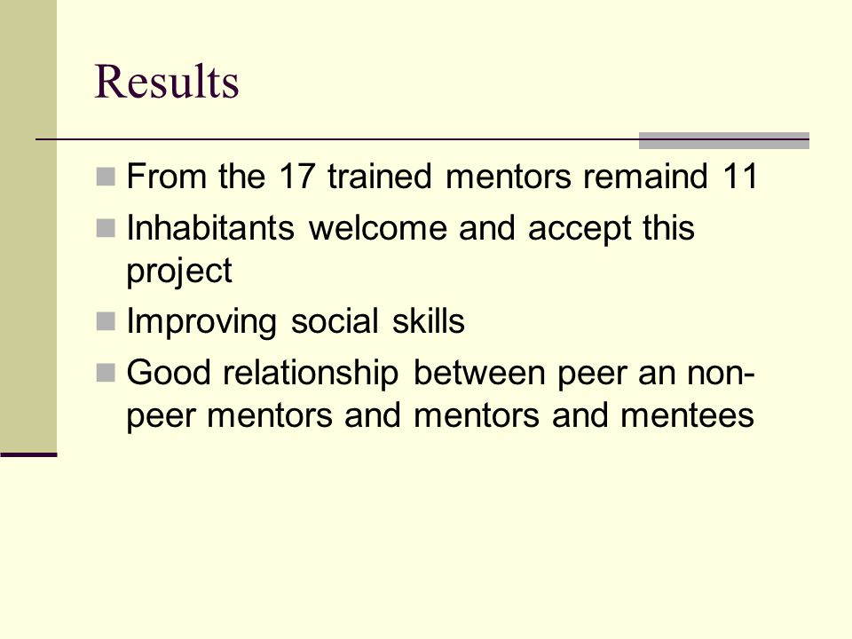 Results From the 17 trained mentors remaind 11 Inhabitants welcome and accept this project Improving social skills Good relationship between peer an non- peer mentors and mentors and mentees
