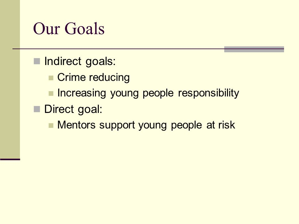 Our Goals Indirect goals: Crime reducing Increasing young people responsibility Direct goal: Mentors support young people at risk
