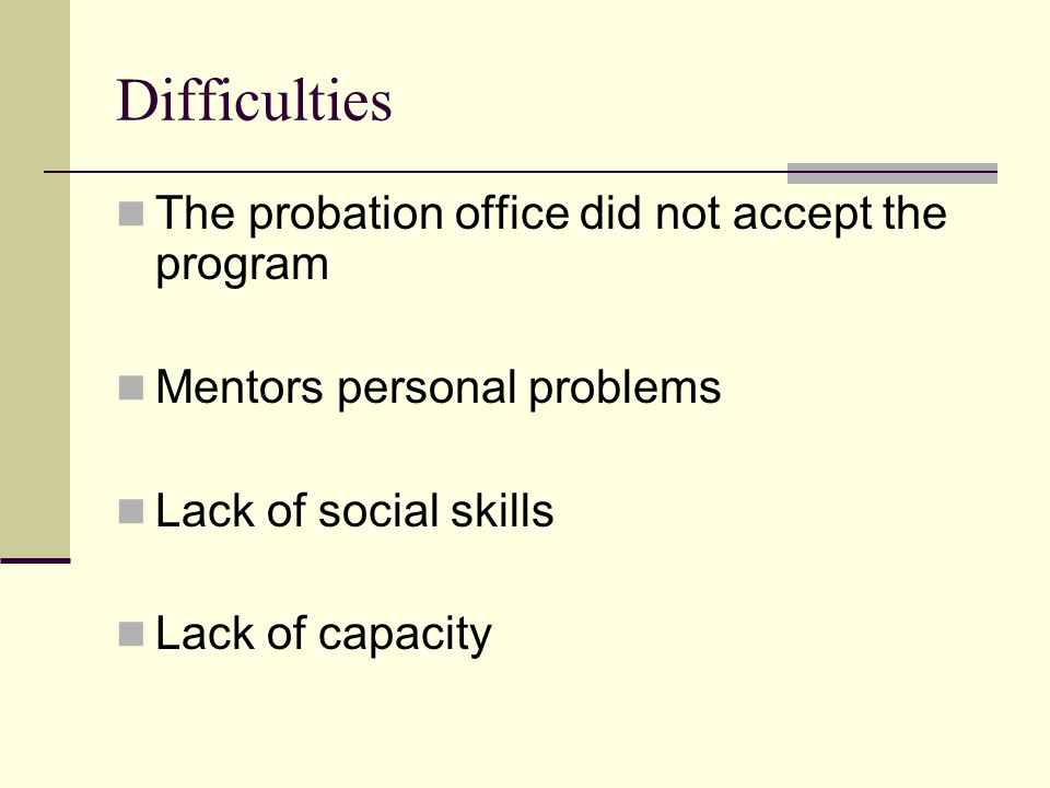 Difficulties The probation office did not accept the program Mentors personal problems Lack of social skills Lack of capacity