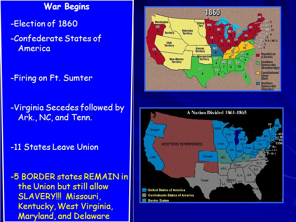 War Begins -Election of 1860 -Confederate States of America -Firing on Ft.