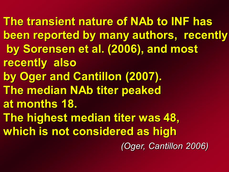 Some authors have shown that NAbs REDUCE REDUCE the effect on relaps rates and MRI measures of disease activity (Rudick et al., 1998, Sorensen et al., 2003)