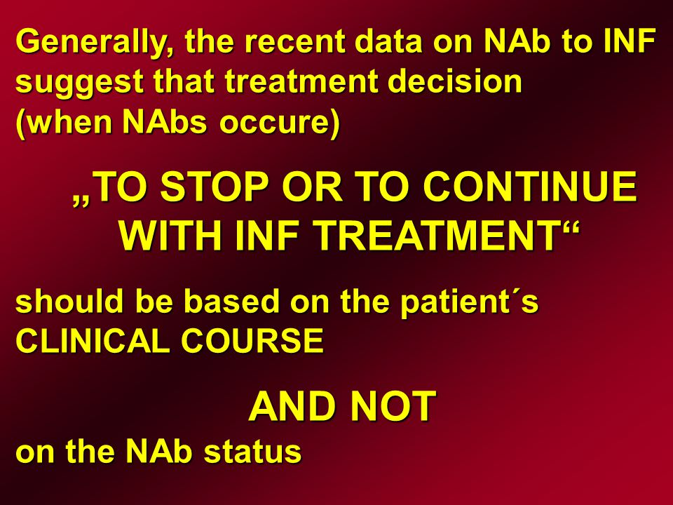 There is no internationally agreed standard method to test for NABs.