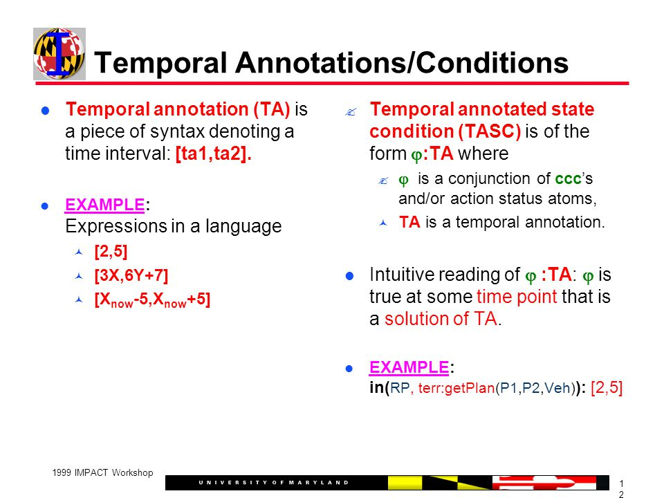 1212 1999 IMPACT Workshop Temporal Annotations/Conditions Temporal annotation (TA) is a piece of syntax denoting a time interval: [ta1,ta2].