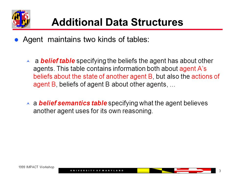 3 1999 IMPACT Workshop Additional Data Structures Agent maintains two kinds of tables: a belief table specifying the beliefs the agent has about other