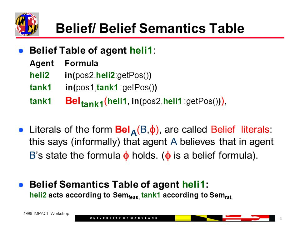 4 1999 IMPACT Workshop Belief/ Belief Semantics Table Belief Table of agent heli1: Agent Formula heli2 in(pos2,heli2:getPos()) tank1 in(pos1,tank1 :getPos()) tank1 Bel tank1 ( heli1, in(pos2,heli1 :getPos()) ), Literals of the form Bel A (B,  ), are called Belief literals: this says (informally) that agent A believes that in agent B's state the formula  holds.