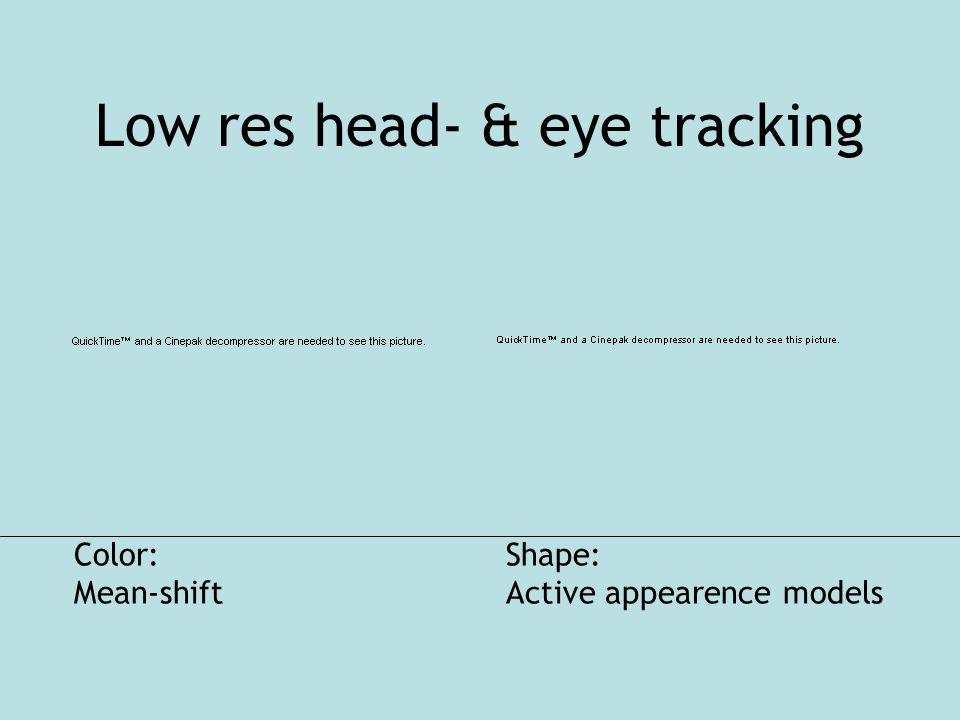 Low res head- & eye tracking Color: Mean-shift Shape: Active appearence models