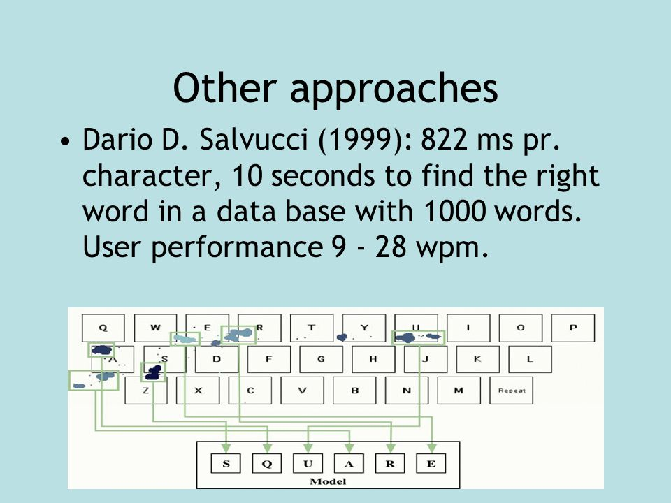 Other approaches Dario D. Salvucci (1999): 822 ms pr.