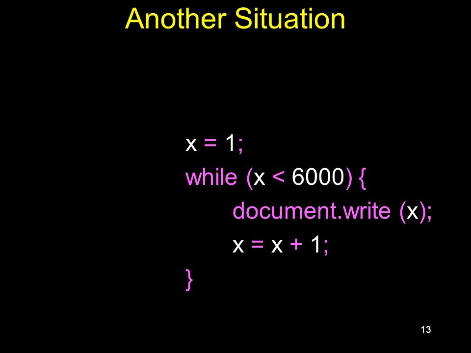 13 Another Situation x = 1; while (x < 6000) { document.write (x); x = x + 1; }