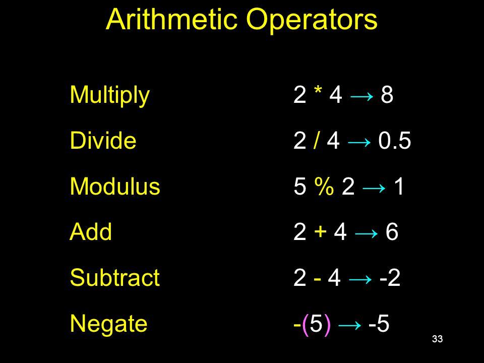 33 Arithmetic Operators Multiply2 * 4 → 8 Divide 2 / 4 → 0.5 Modulus5 % 2 → 1 Add2 + 4 → 6 Subtract2 - 4 → -2 Negate-(5) → -5
