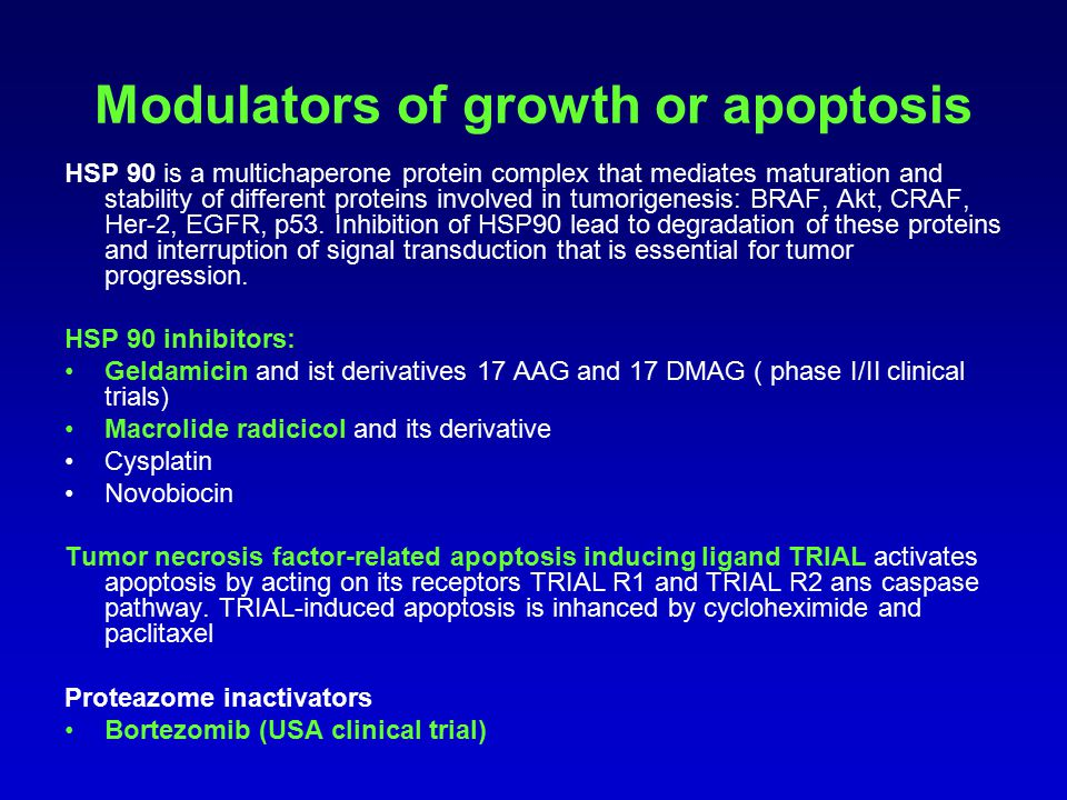 Modulators of growth or apoptosis HSP 90 is a multichaperone protein complex that mediates maturation and stability of different proteins involved in tumorigenesis: BRAF, Akt, CRAF, Her-2, EGFR, p53.