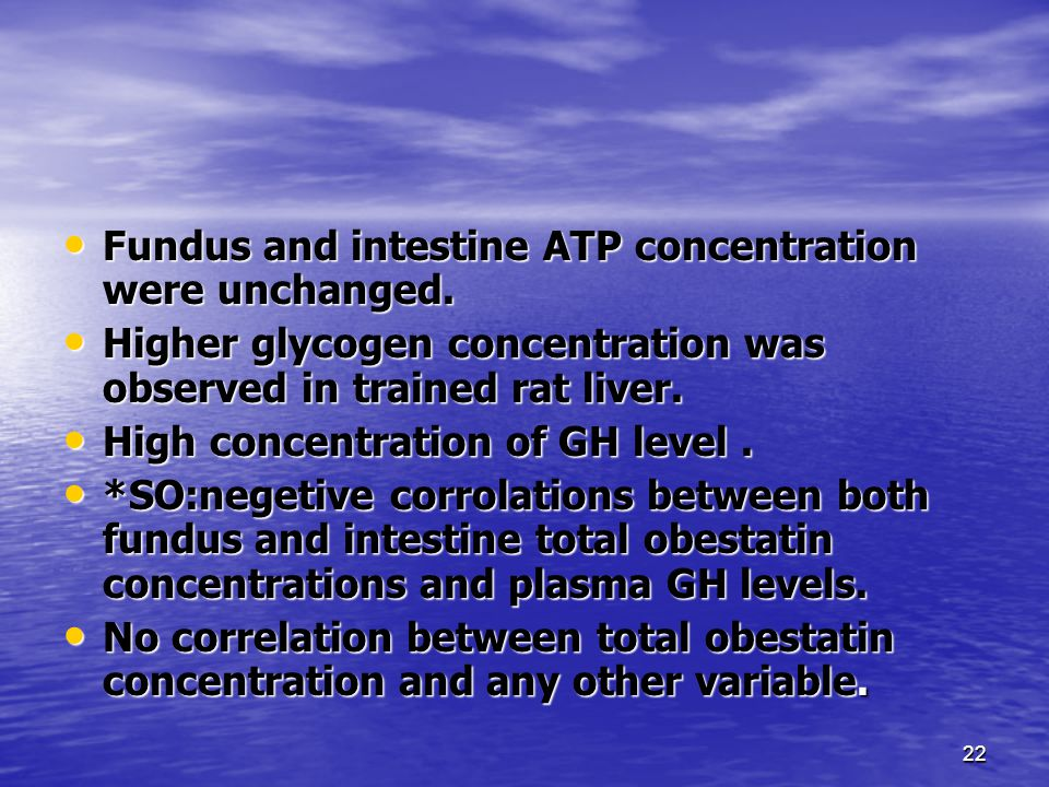 22 Fundus and intestine ATP concentration were unchanged.
