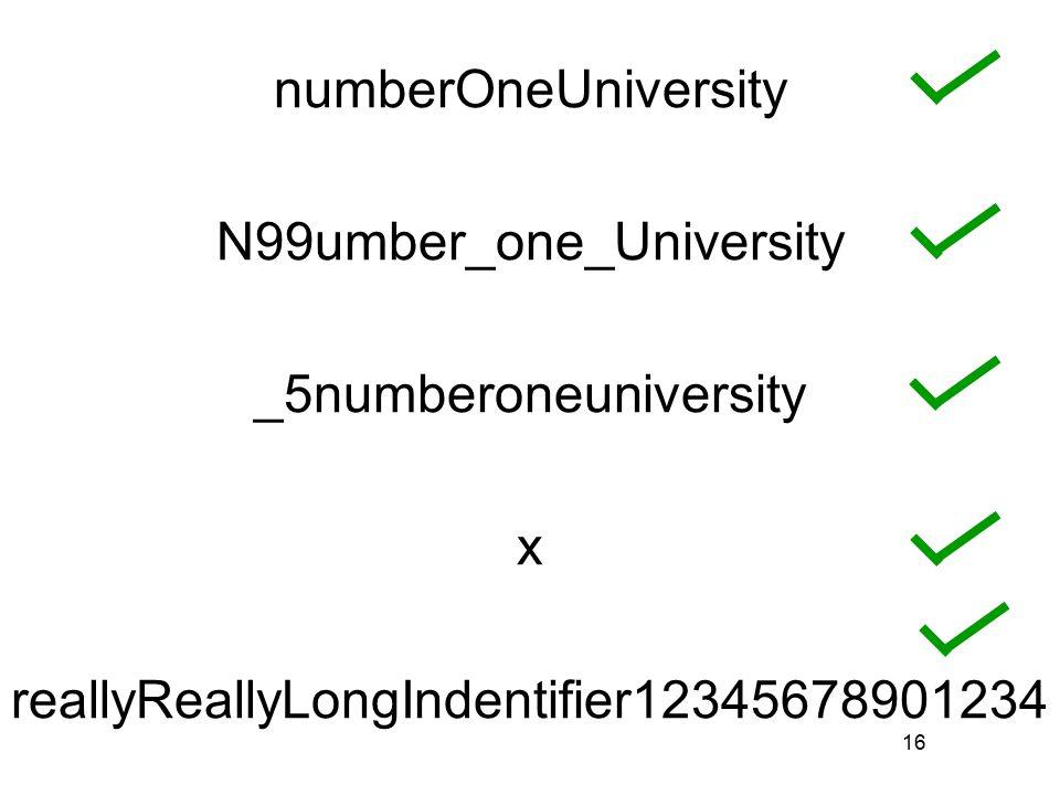 16 numberOneUniversity N99umber_one_University _5numberoneuniversity x reallyReallyLongIndentifier12345678901234