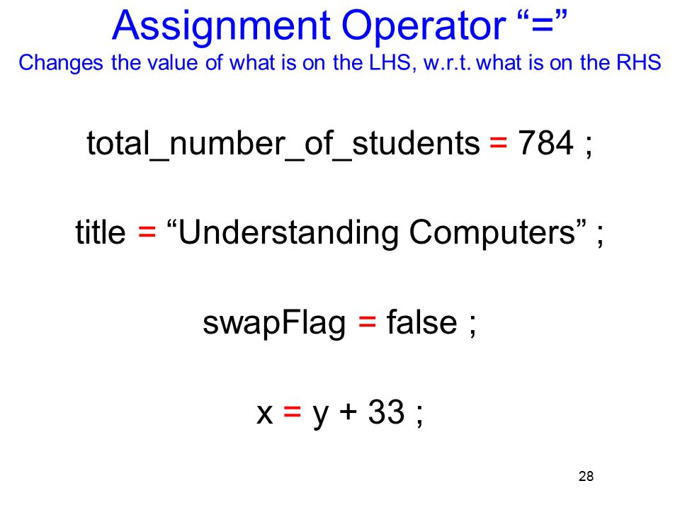 28 Assignment Operator = Changes the value of what is on the LHS, w.r.t.