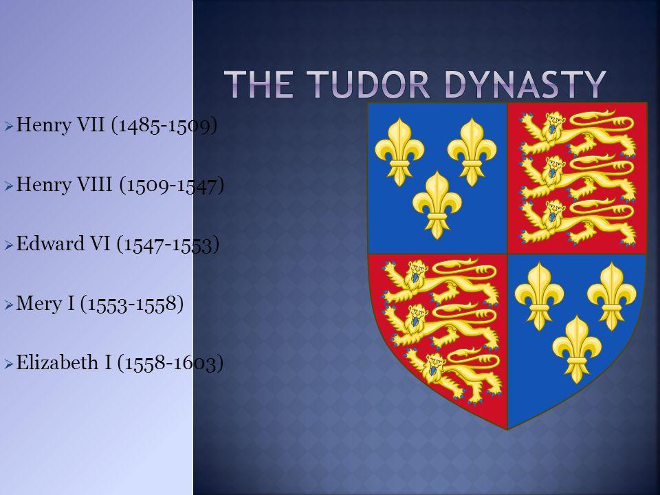  Henry VII (1485-1509)  Henry VIII (1509-1547)  Edward VI (1547-1553)  Mery I (1553-1558)  Elizabeth I (1558-1603)