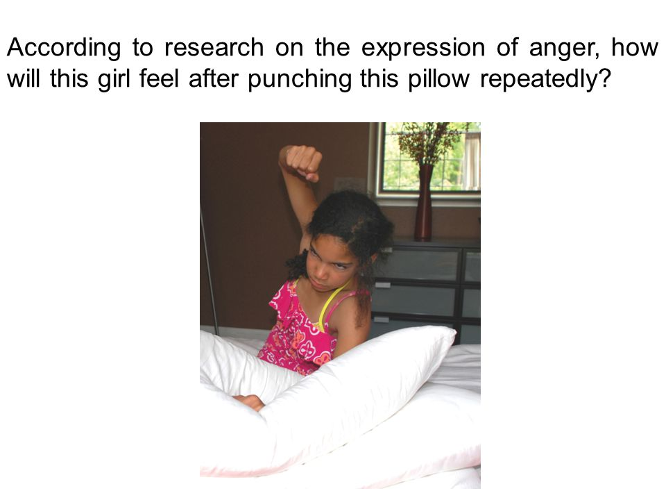According to research on the expression of anger, how will this girl feel after punching this pillow repeatedly?