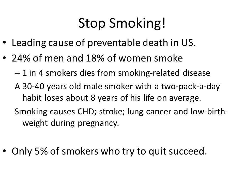 Stop Smoking.Leading cause of preventable death in US.