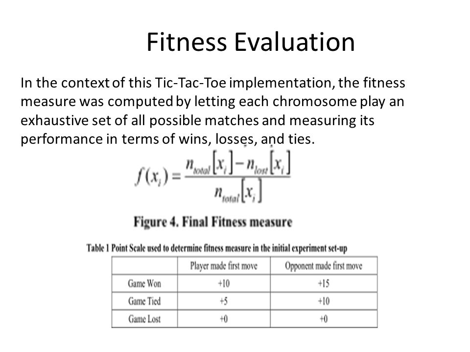 Fitness Evaluation In the context of this Tic-Tac-Toe implementation, the fitness measure was computed by letting each chromosome play an exhaustive s