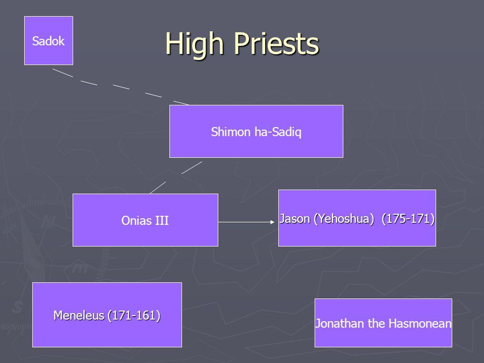 High Priests Shimon ha-Sadiq Onias III Jason (Yehoshua) (175-171) Meneleus (171-161) Sadok Jonathan the Hasmonean