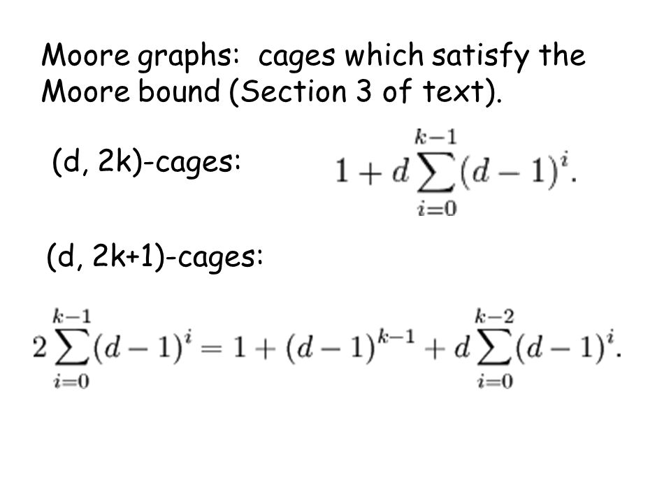 Moore graphs: cages which satisfy the Moore bound (Section 3 of text).