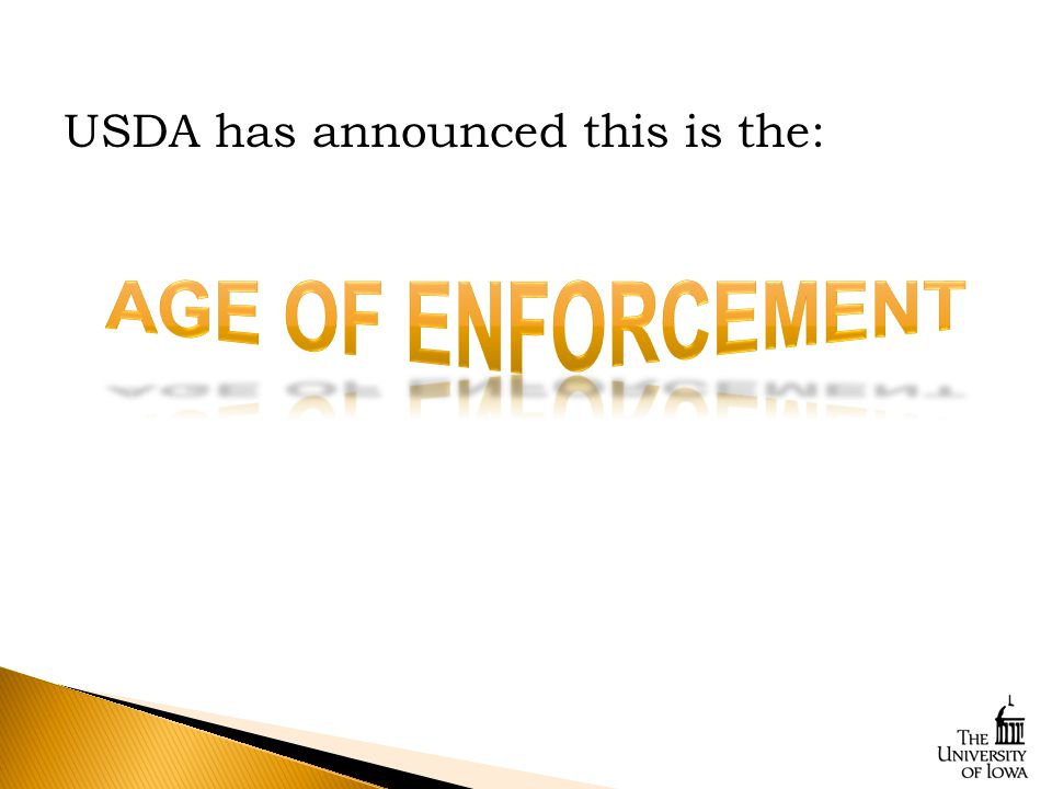 USDA has announced this is the: