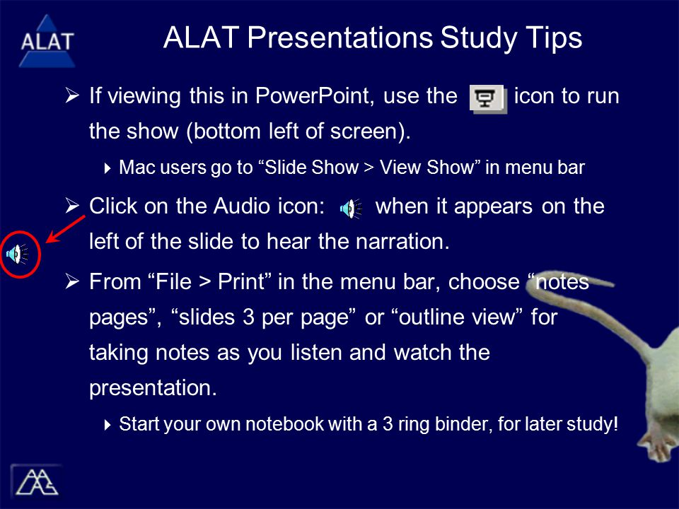 """ If viewing this in PowerPoint, use the icon to run the show (bottom left of screen).  Mac users go to """"Slide Show > View Show"""" in menu bar  Click"""