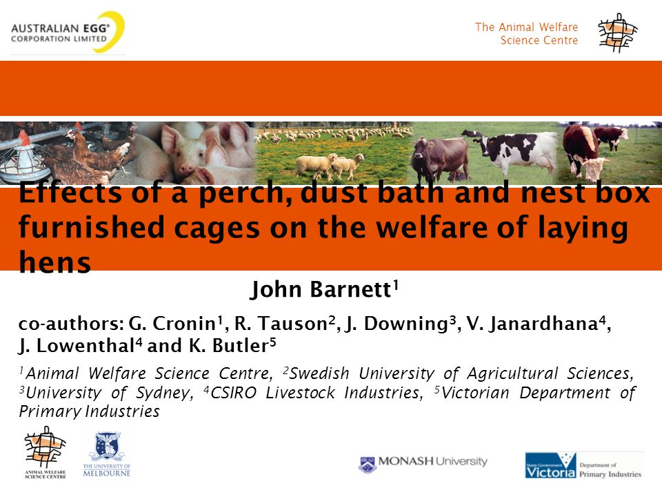 The Animal Welfare Science Centre Effects of a perch, dust bath and nest box in furnished cages on the welfare of laying hens John Barnett 1 co-authors: G.