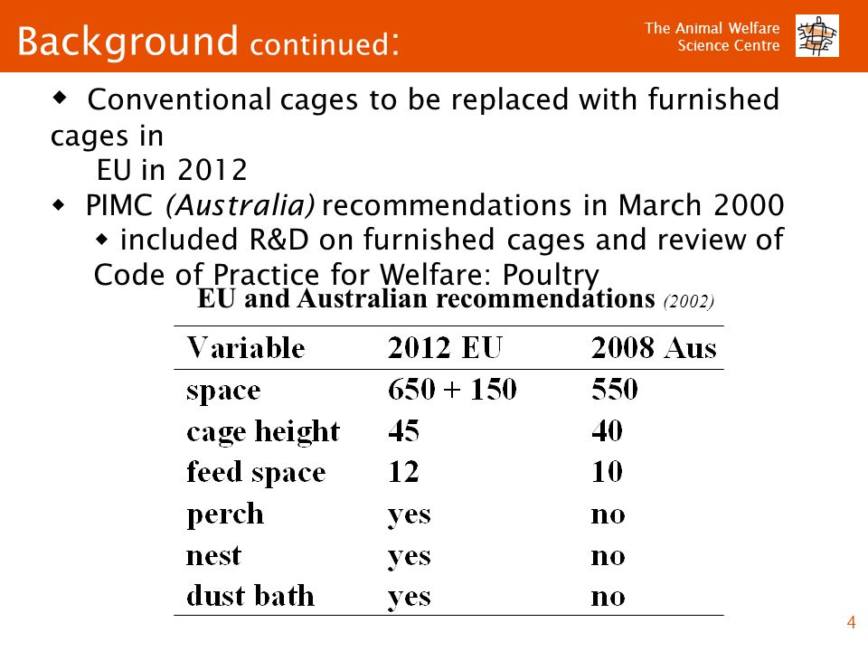 The Animal Welfare Science Centre 4 Background continued : EU and Australian recommendations (2002)  Conventional cages to be replaced with furnished cages in EU in 2012  PIMC (Australia) recommendations in March 2000  included R&D on furnished cages and review of Code of Practice for Welfare: Poultry