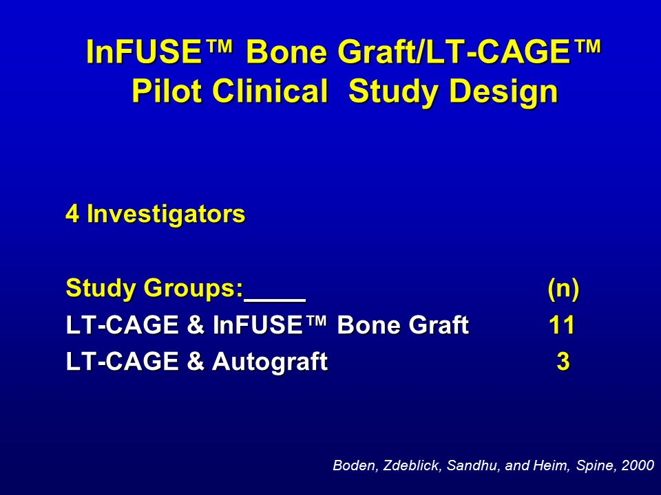 InFUSE™ Bone Graft/LT-CAGE™ Pilot Clinical Study Design 4 Investigators Study Groups: (n) LT-CAGE & InFUSE™ Bone Graft 11 LT-CAGE & Autograft 3 Boden, Zdeblick, Sandhu, and Heim, Spine, 2000
