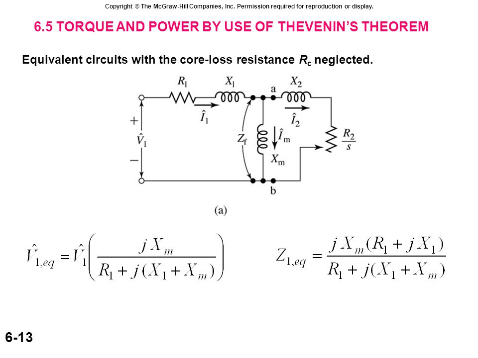 Copyright © The McGraw-Hill Companies, Inc. Permission required for reproduction or display. 6-13 6.5 TORQUE AND POWER BY USE OF THEVENIN'S THEOREM Eq
