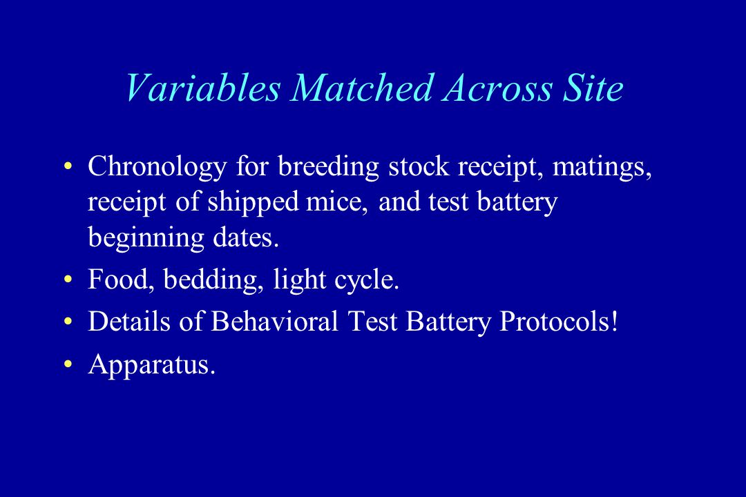 Variables Matched Across Site Chronology for breeding stock receipt, matings, receipt of shipped mice, and test battery beginning dates. Food, bedding