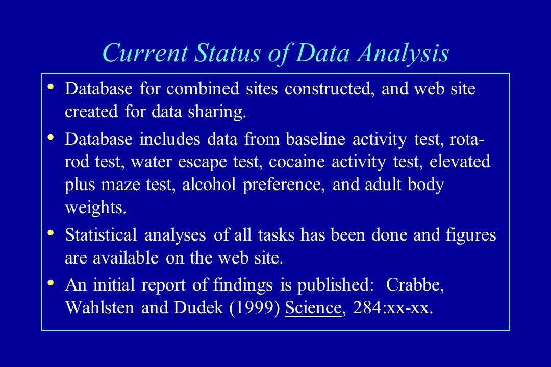 Current Status of Data Analysis Database for combined sites constructed, and web site created for data sharing.