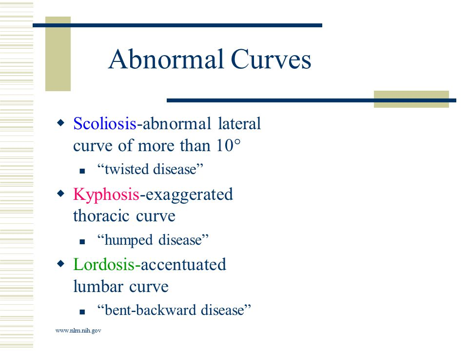 "Abnormal Curves  Scoliosis-abnormal lateral curve of more than 10° ""twisted disease""  Kyphosis-exaggerated thoracic curve ""humped disease""  Lordosi"