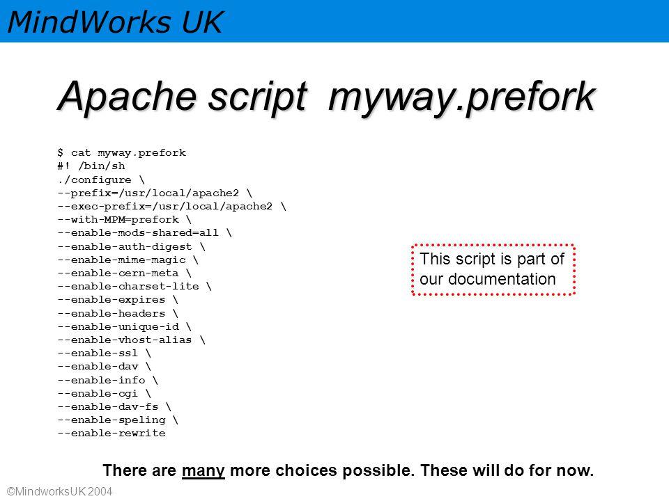 MindWorks UK ©MindworksUK 2004 Apache script myway.prefork $ cat myway.prefork #.